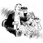 Antique humor cartoon illustration: theatre telescope